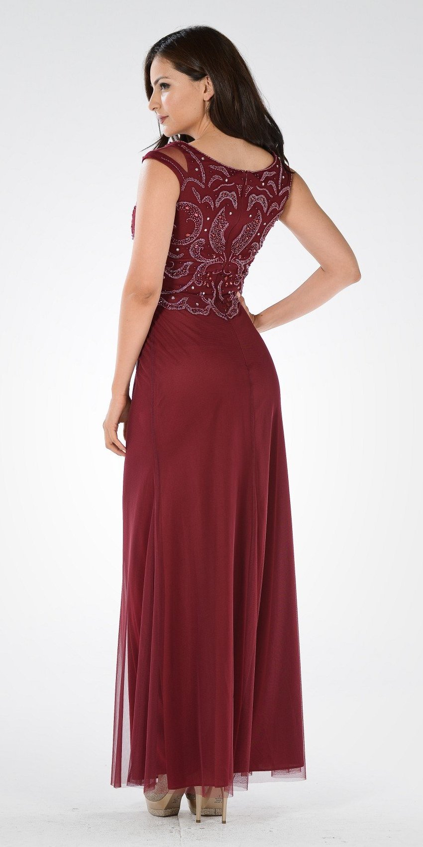 Burgundy Beaded Bodice Fit and Flare Mother of the Bride Dress Long