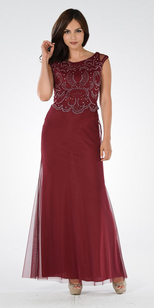 Burgundy Beaded Bodice Fit and Flare Mother of the Bride Dress Long - DiscountDressShop