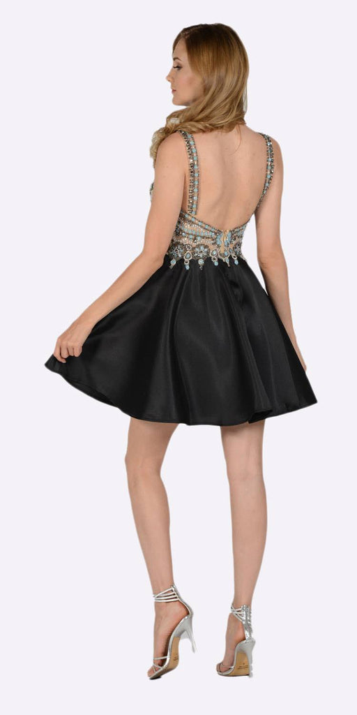 Poly USA 7526 V-Neck Embellished Bodice Open Back Homecoming Dress Black Back View