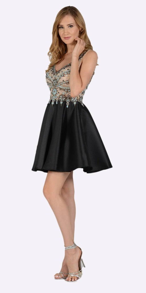 Poly USA 7526 V-Neck Embellished Bodice Open Back Homecoming Dress Black Side View