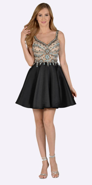 Poly USA 7526 V-Neck Embellished Bodice Open Back Homecoming Dress Black