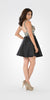 V-Neck Embellished Bodice Open Back Homecoming Dress Black
