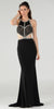 Long Sexy Prom Dress with Cut-Out Bodice Open Back and Train Black