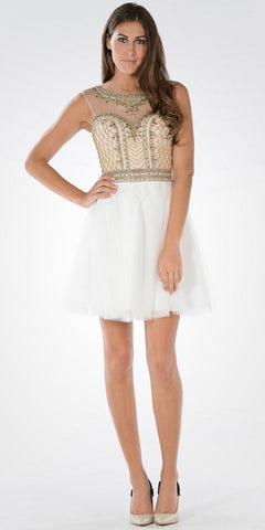 Sweetheart Illusion Beaded Top Tulle Skirt White Sweet Sixteen Dress