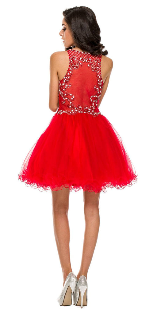 Short Poofy Formal Gown Red Tulle Skirt A Line High Neck Back