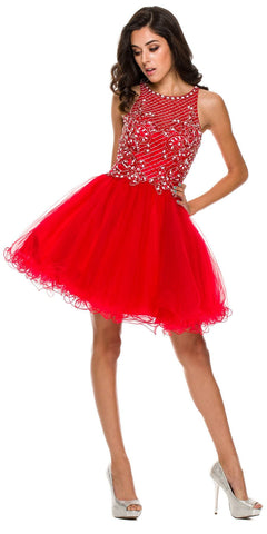 Short Poofy Formal Gown Red Tulle Skirt A Line High Neck