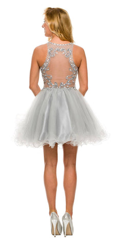Short Poofy Formal Gown Silver Tulle Skirt A Line High Neck Back