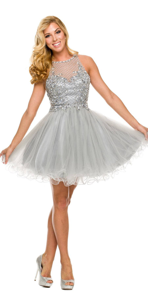 Short Poofy Formal Gown Silver Tulle Skirt A Line High Neck