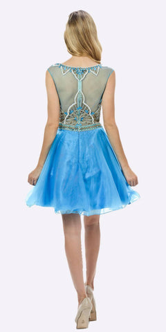 Poly USA 7542 Sleeveless Sweet Sixteen Dress Embellished Bodice Tulle Skirt Blue