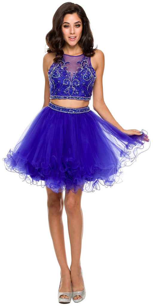 Short 2 Piece Dress Blue Poofy Tulle Skirt Keyhole Back High Neck