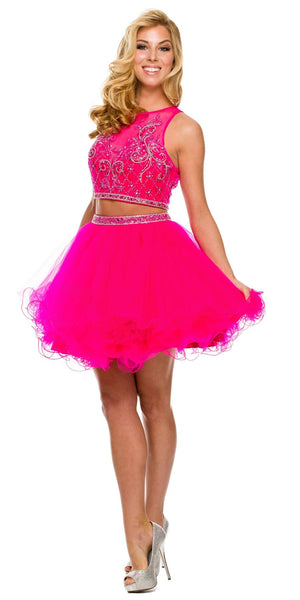 Short 2 Piece Dress Fuchsia Poofy Tulle Skirt Keyhole Back High Neck