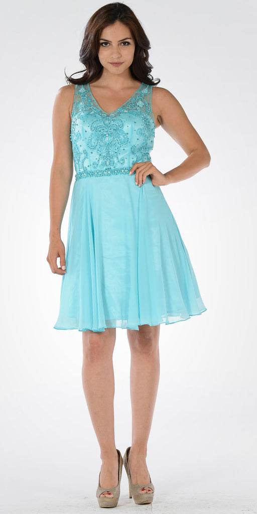 Blue V-neck Bead Applique Bodice Knee Length Cocktail Dress