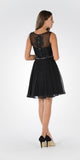 Black V-neck Bead Applique Bodice Knee Length Cocktail Dress