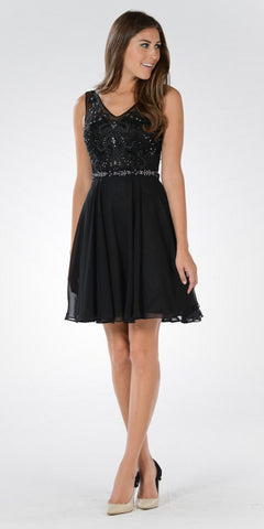 Short A Line Prom Dress Black Chiffon Jeweled Sweetheart