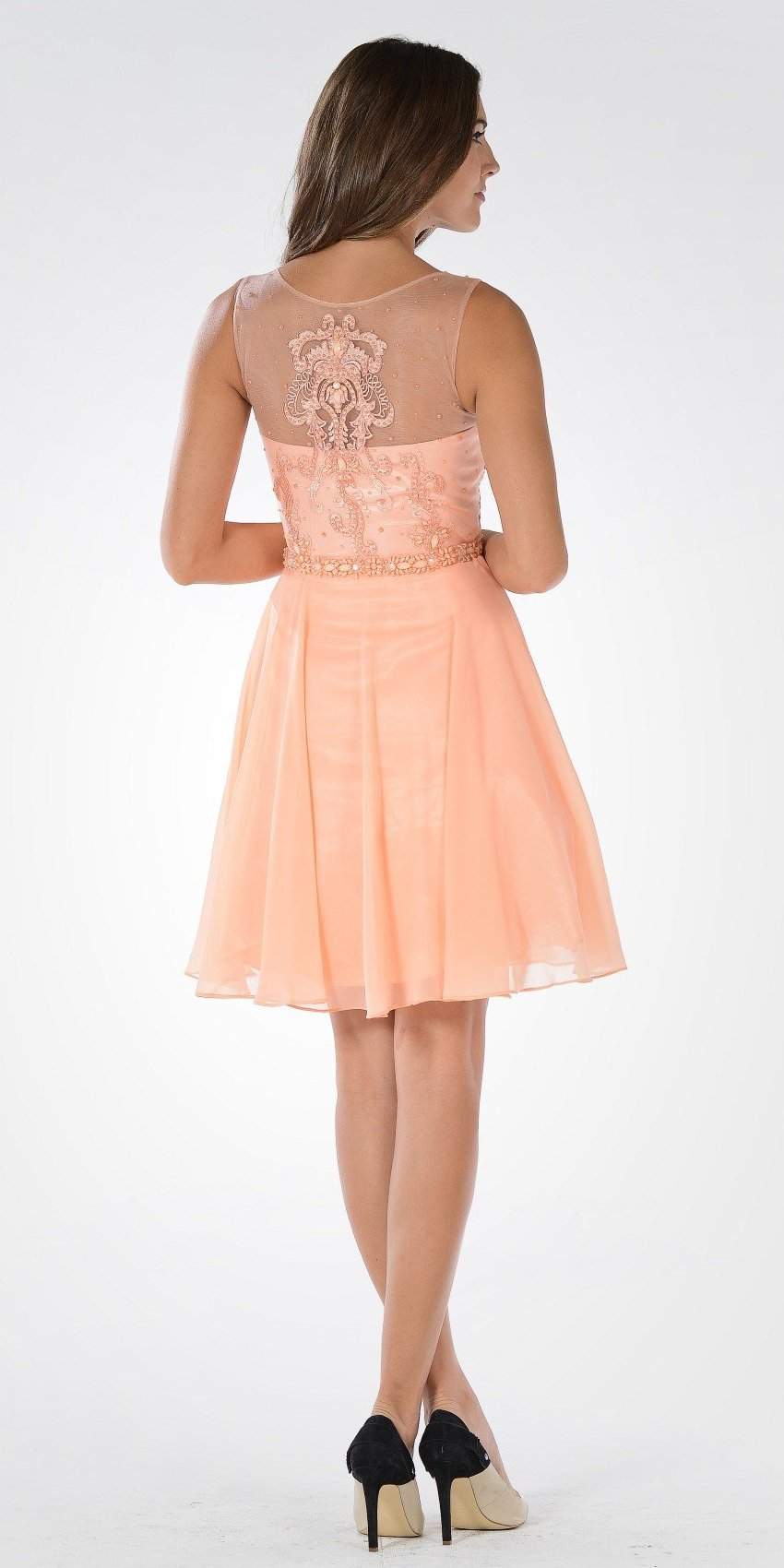 Coral V-neck Bead Applique Bodice Knee Length Cocktail Dress