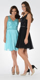 Black and Blue V-neck Bead Applique Bodice Knee Length Cocktail Dress