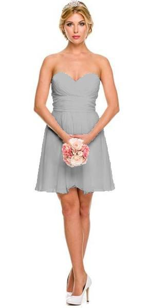 8250263039e Juliet 725 Short Chiffon Bridesmaid SilverDress Sweetheart Neck ...