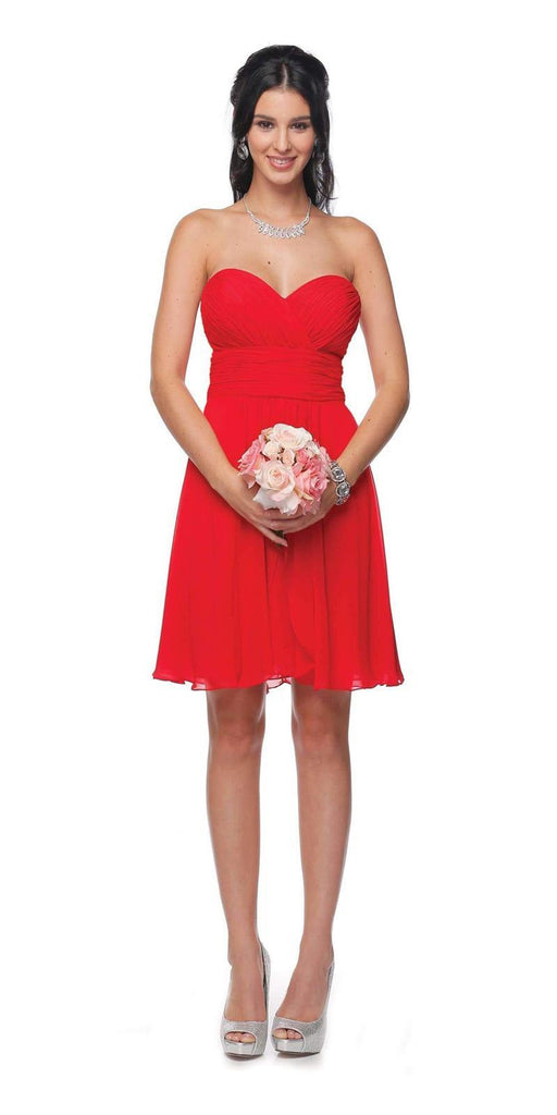 Short Chiffon Bridesmaid Red Dress Sweetheart Neck Corset