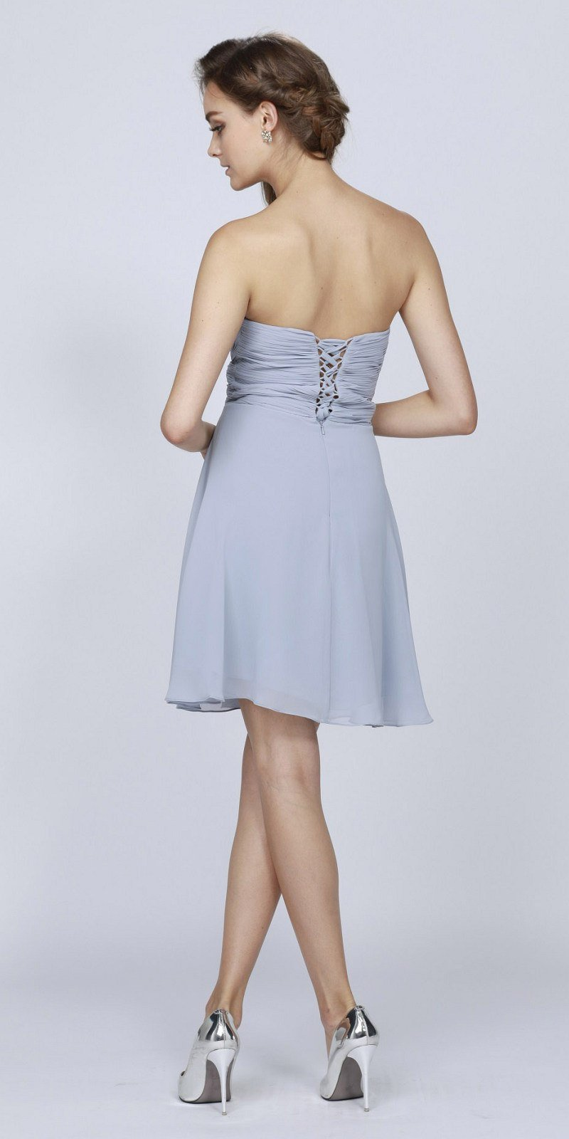 b668a6f3151 ... Short Chiffon Bridesmaid Silver Dress Sweetheart Neck Corset ...