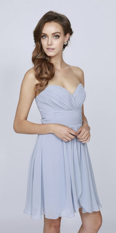 Short Chiffon Bridesmaid Silver Dress Sweetheart Neck Corset Back