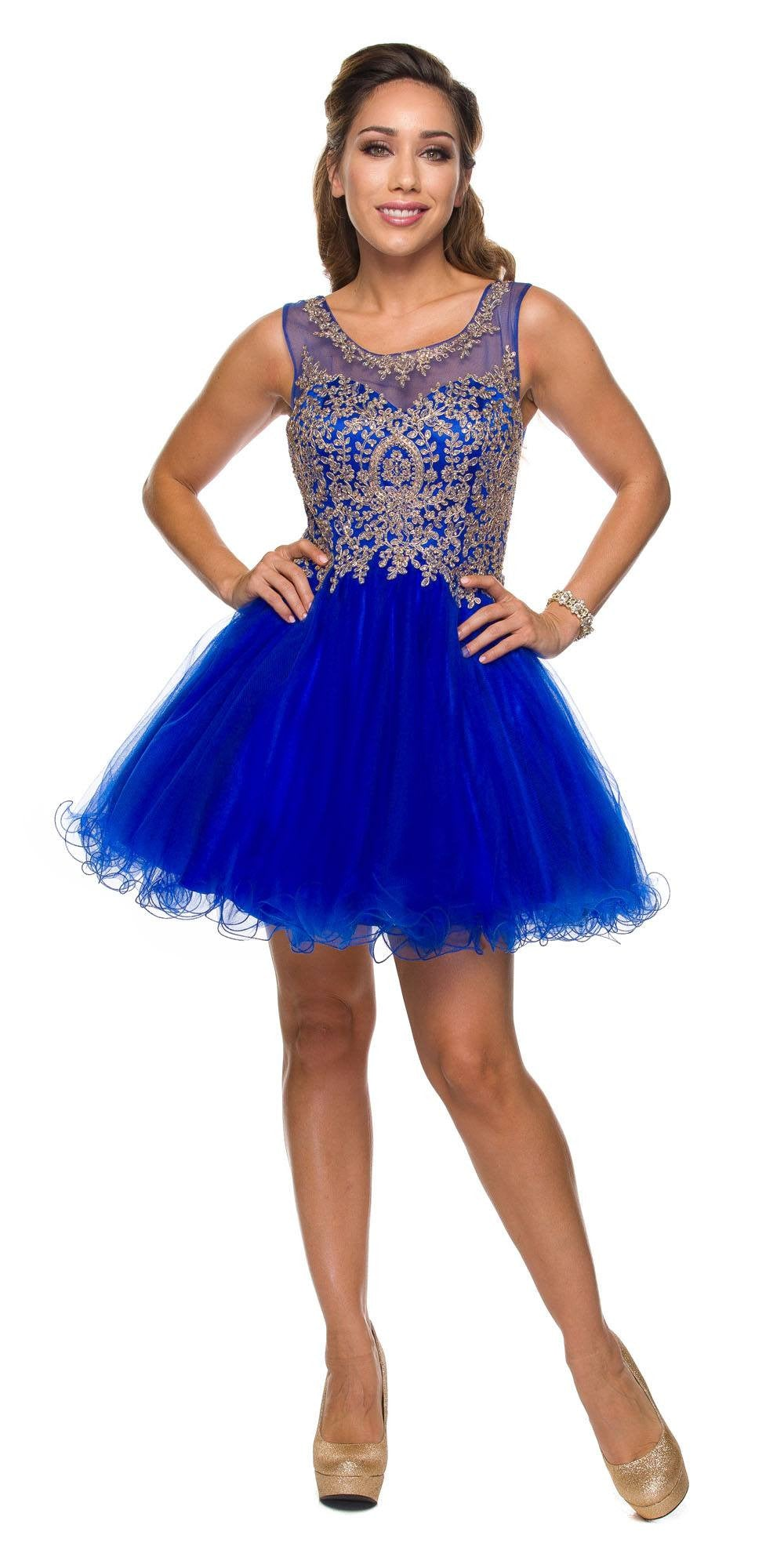 d80a3c977bd Juliet 758 Royal Blue Gold Applique Embroidery Tulle Homecoming Dress.  Touch to zoom
