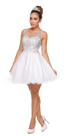 Juliet 758 White Silver Applique Embroidery Tulle Homecoming Dress