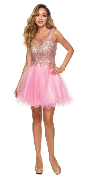 Juliet 758 Light Pink Gold Applique Embroidery Tulle Homecoming Dress