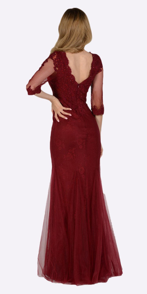 Poly USA 7582 Mid Sleeves Lace V-Neck Fit and Flare Evening Gown Burgundy Back View