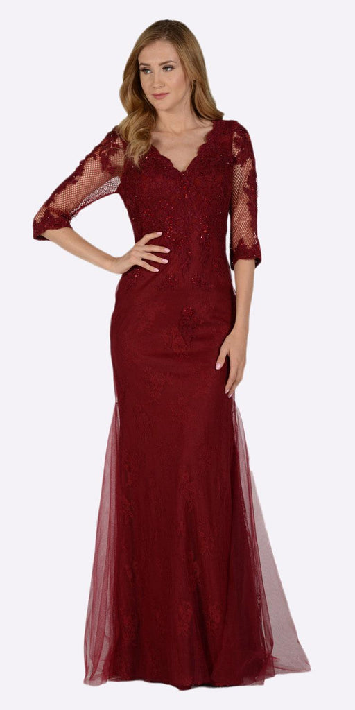 Poly USA 7582 Mid Sleeves Lace V-Neck Fit and Flare Evening Gown Burgundy