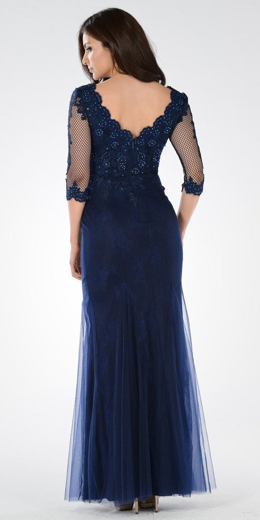 Mid Sleeves Lace V-Neck Fit and Flare Evening Gown Navy Blue