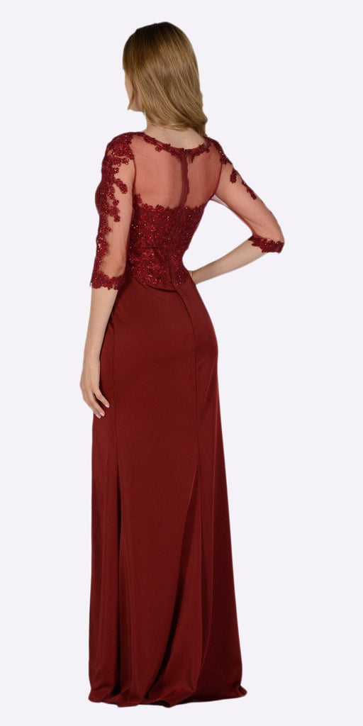 Poly USA 7584 Burgundy Mesh Embroidered Bodice Mid Sleeves Formal Dress with Slit Back View