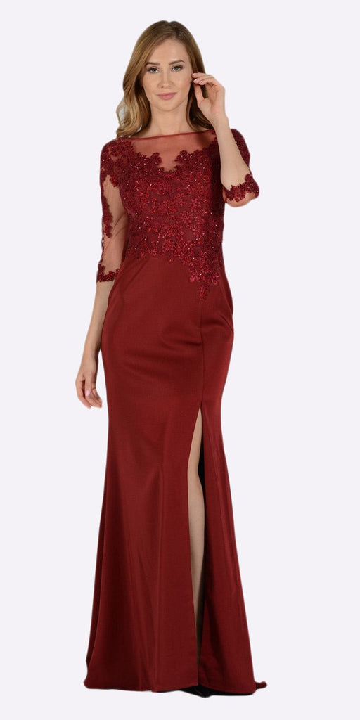 Poly USA 7584 Burgundy Mesh Embroidered Bodice Mid Sleeves Formal Dress with Slit