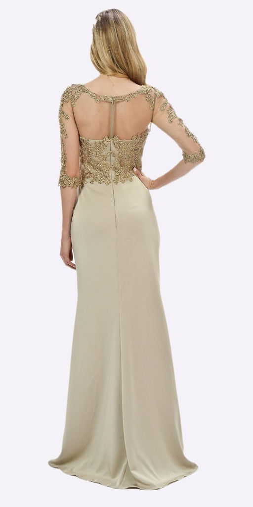 Poly USA 7584 Champagne Mesh Embroidered Bodice Mid Sleeves Formal Dress with Slit Back View
