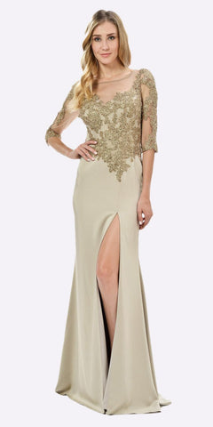 Poly USA 7584 Champagne Mesh Embroidered Bodice Mid Sleeves Formal Dress with Slit