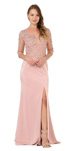Poly USA 7584 Mauve Mesh Embroidered Bodice Mid Sleeves Formal Dress with Slit Back View