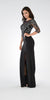 Black Mesh Embroidered Bodice Mid Sleeves Formal Dress with Slit