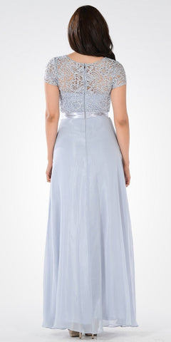 Gray Lace Bodice Chiffon A-Line Skirt Formal Dress Short Sleeves