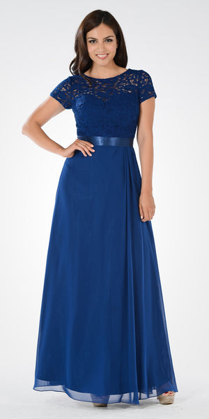 Navy Blue Lace Bodice Chiffon A-Line Skirt Formal Dress Short Sleeves