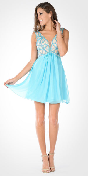 V-Neck Empire Waist Embellished Bodice Aqua Party Dress Short