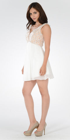 V-Neck Empire Waist Embellished Bodice Off White Party Dress Short