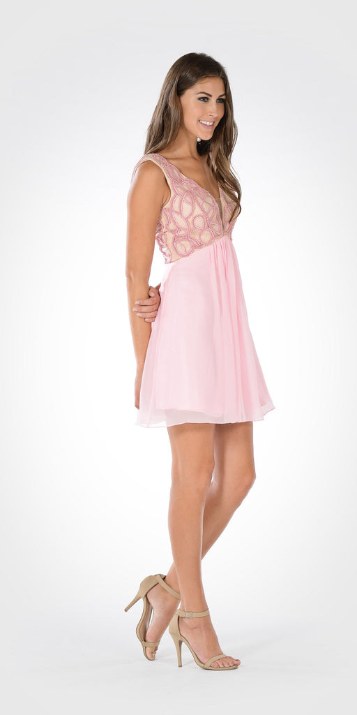 V-Neck Empire Waist Embellished Bodice Pink Party Dress Short