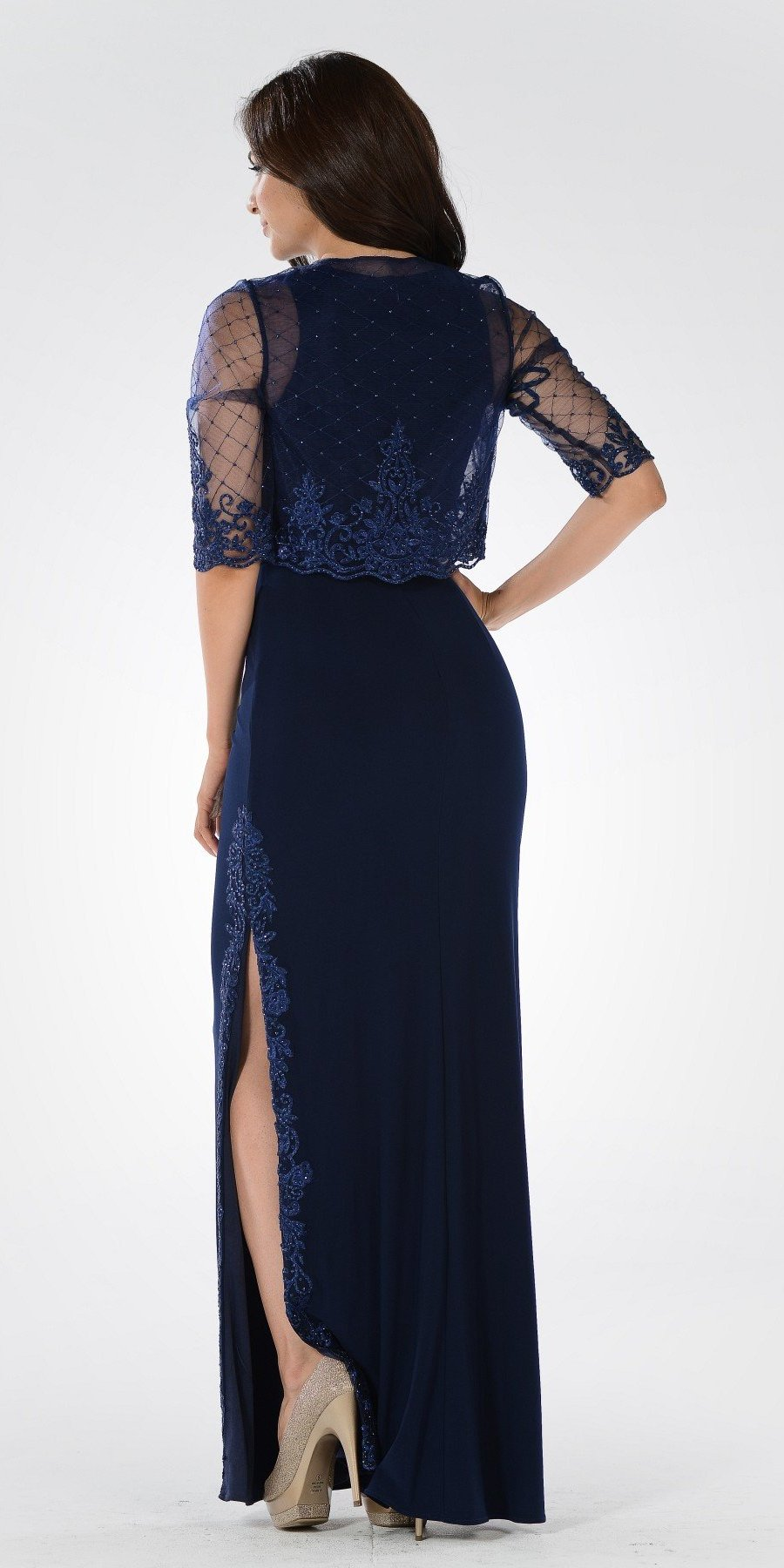 Navy Blue Sleeveless Long Formal Column Dress with Mid Sleeve Bolero