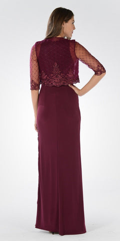 Burgundy Sleeveless Long Formal Column Dress with Mid Sleeve Bolero