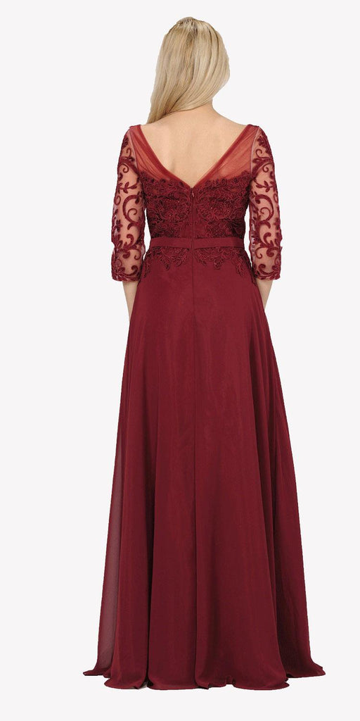 Mid Sleeves Illusion Lace Applique A-line Formal Dress Burgundy Back View