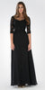 Mid Sleeves Illusion Lace Applique A-line Formal Dress Black