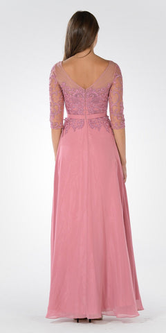 Mid Sleeves Illusion Lace Applique A-line Formal Dress Dusty Rose