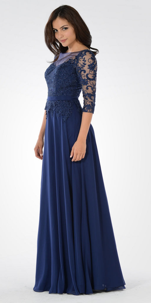 Mid Sleeves Illusion Lace Applique A-line Formal Dress Navy Blue