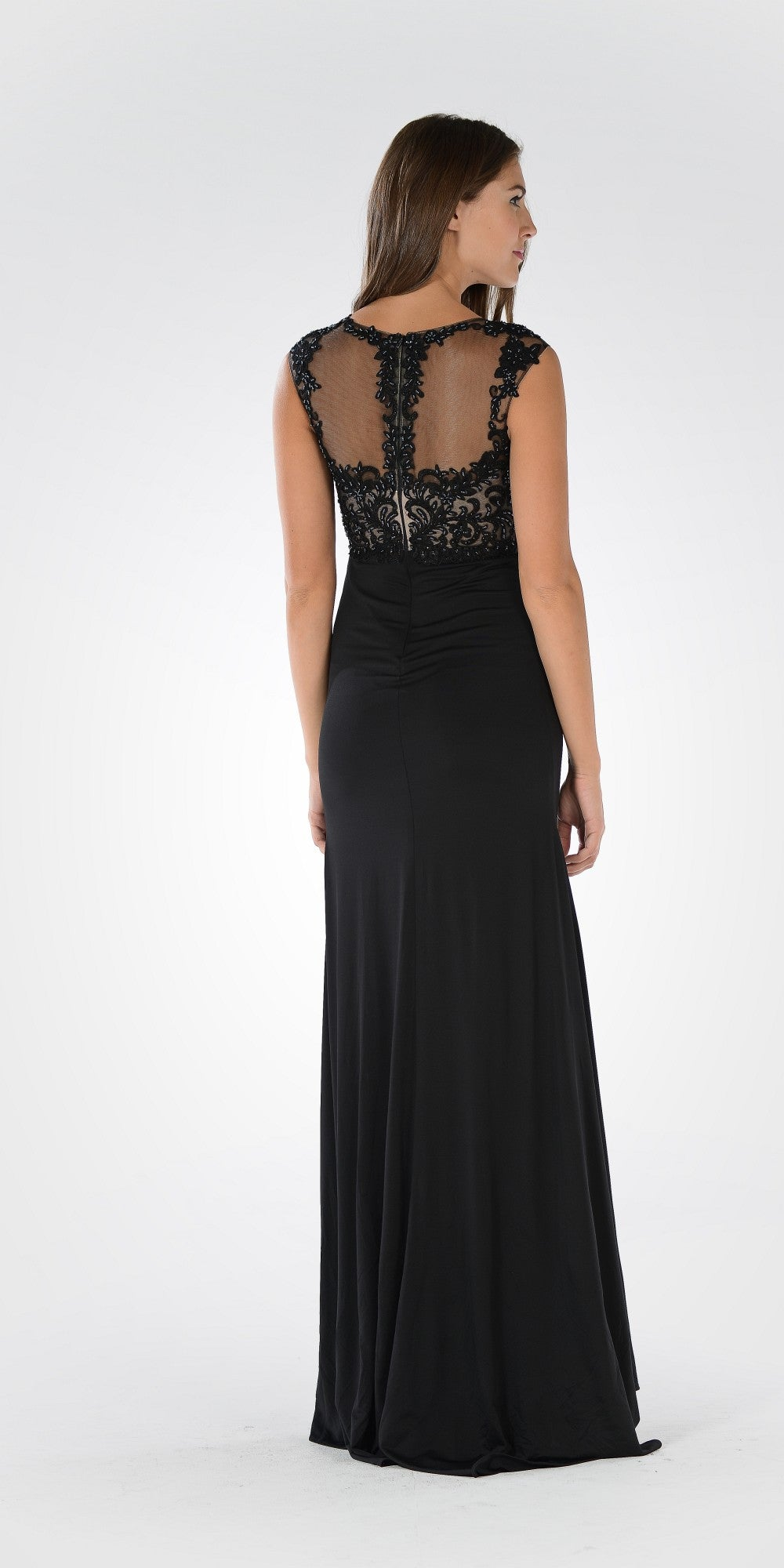 Sleeveless Illusion Applique Bodice High Waist Dinner Party Dress Black
