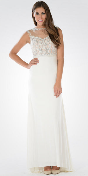 Sleeveless Illusion Applique Bodice High Waist Dinner Party Dress Off White