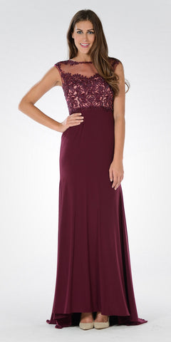 Sleeveless Illusion Applique Bodice High Waist Dinner Party Dress Plum